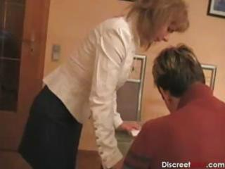 sexy german mommy teaches guy