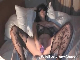 masked wife vs a large dildo