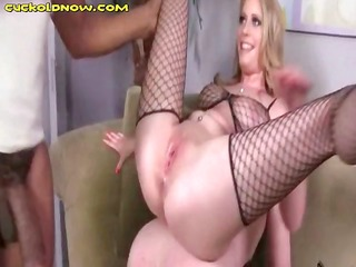 golden-haired in fishnets cuckolds husband and