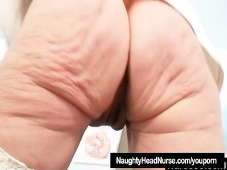 golden-haired granny nurse using gyno pussy