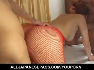erena kurosawa in red fishnet sucks a dick