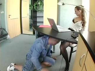 nerdy secretary in underware fucking at the office