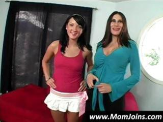 sexy brunette mommy and daughter team shelia