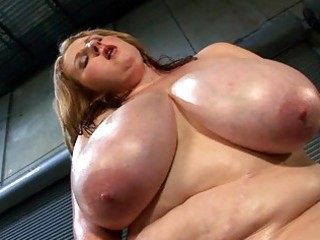 mega breasted d like to fuck lady oils her fat