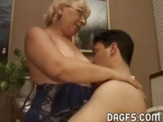 mature granny acquires a younger jock to engulf
