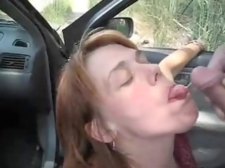 car irrumation fun and sperm flow with a mother