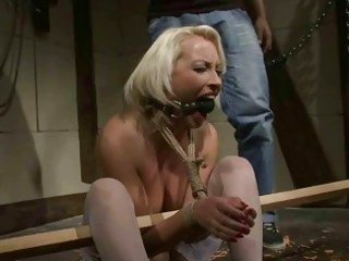 mature golden-haired receives bondaged and