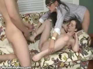 milf has daughter eat her cookie whilst getting