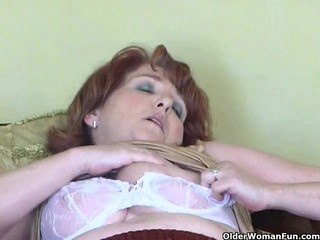 naughty granny has solo sex with fake penis