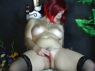 busty non-professional wife toying her bald muff